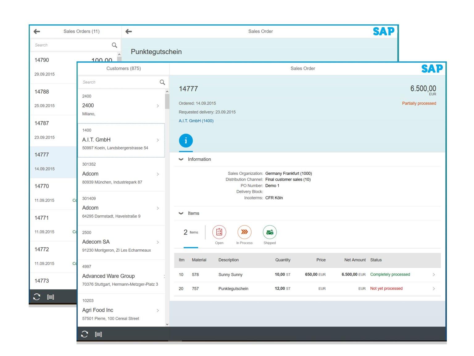 SAP Track Sales Order Fiori App Screenshot Fiori App Screenshot